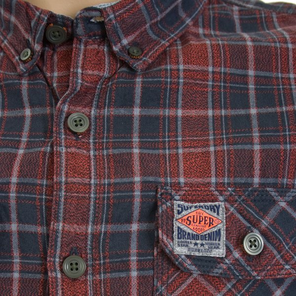 Superdry Grindle Sawn Shirt Red Iron Check