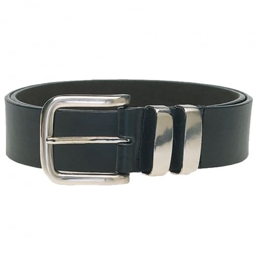 Duke London Big Mens Double Metal Loop Belt Black