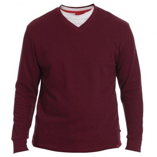 D555 Kingsize Bliss V-Neck Sweatshirt Burgundy