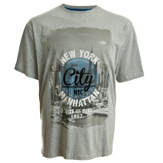 Espionage Big Mens T213 New York T-Shirt Grey Marl