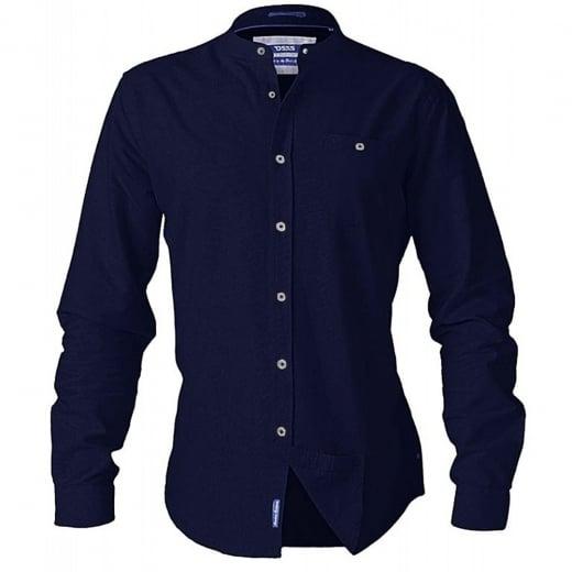 D555 Kingsize Bernard L/S Grandad Oxford Shirt Navy