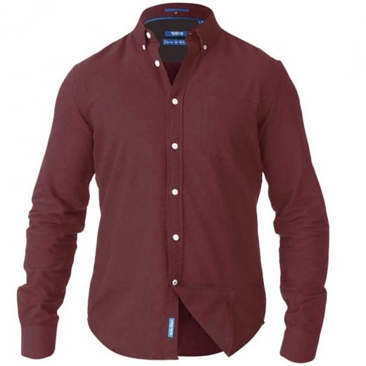 D555 Kingsize Alastair L/S Oxford Shirt Burgundy