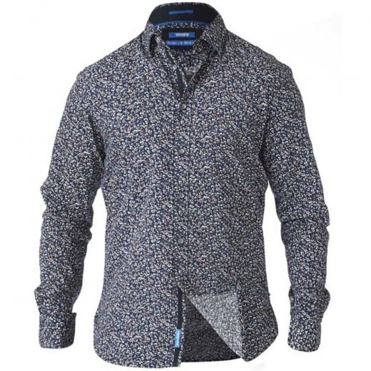 D555 Kingsize Radcliff L/S Printed Shirt Navy