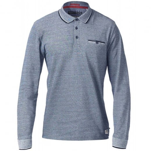D555 Kingsize Howard L/S Polo Blue Melange