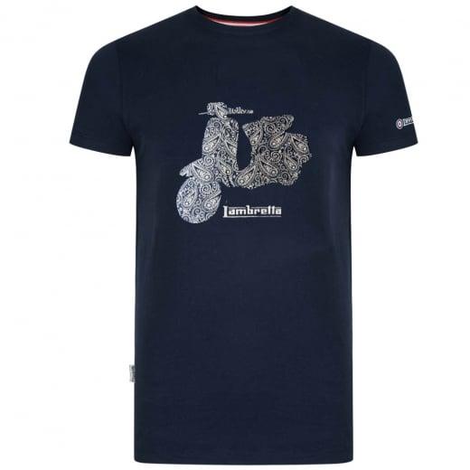 "Lambretta Paisley Scooter T-Shirt Navy (46-50"")"