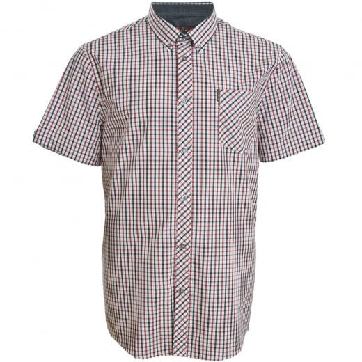 Ben Sherman Kingsize 49950 Check S/S Shirt Dark Blue