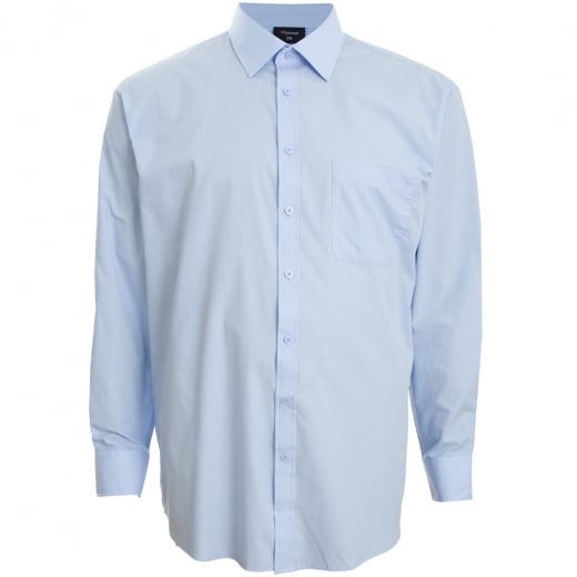 Espionage Kingsize SH151 Plain Collar L/S Shirt Blue