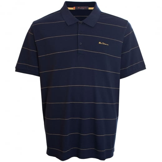 Ben Sherman Kingsize Classic Pique Stripe Polo Dark Navy
