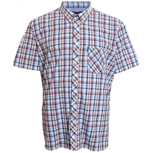 Ben Sherman Kingsize Text Check S/S Shirt Bright White