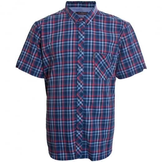 Ben Sherman Kingsize Text Check S/S Shirt Moonlight Blue