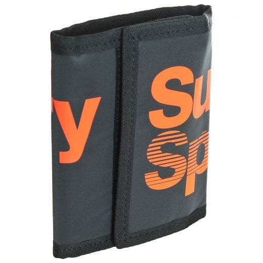Superdry Sport Stadium Large Logo Wallet Black/Fluro Orange