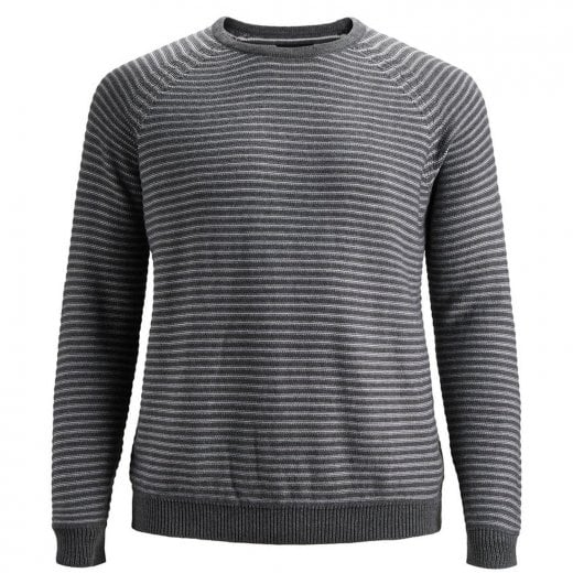 Jack & Jones Plus Size Core Wind Crew Knitwear Dark Grey Melange