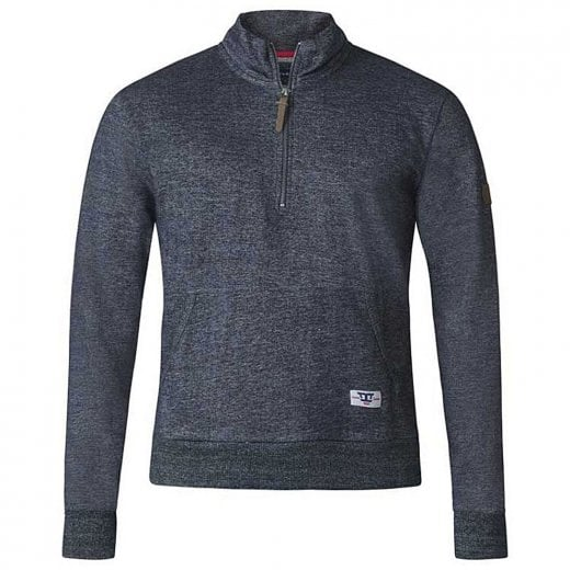 D555 Kingsize Robby Half Zip Sweatshirt Denim Marl