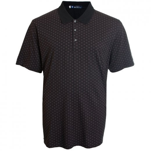 Ben Sherman Kingsize 52809 Pattern Print Polo Black