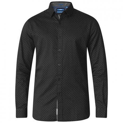 D555 Kingsize Jahine Dotted Square Pattern L/S Shirt Black