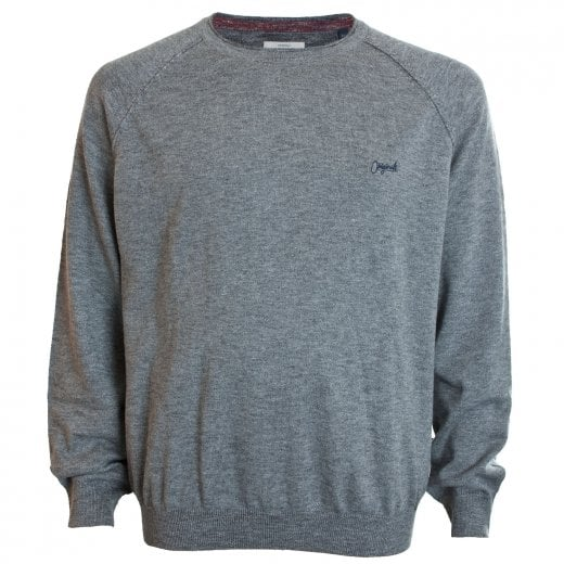 Jack & Jones Plus Size Originals Homework Knitwear Light Grey Melange