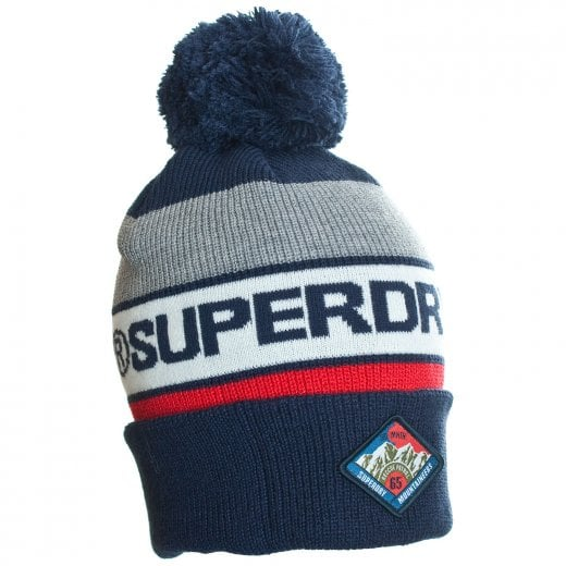 Superdry Trophy Bobble Beanie Navy/Red