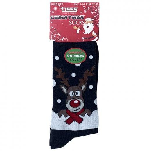 D555 Kingsize KS2311 Reindeer Christmas Socks Black