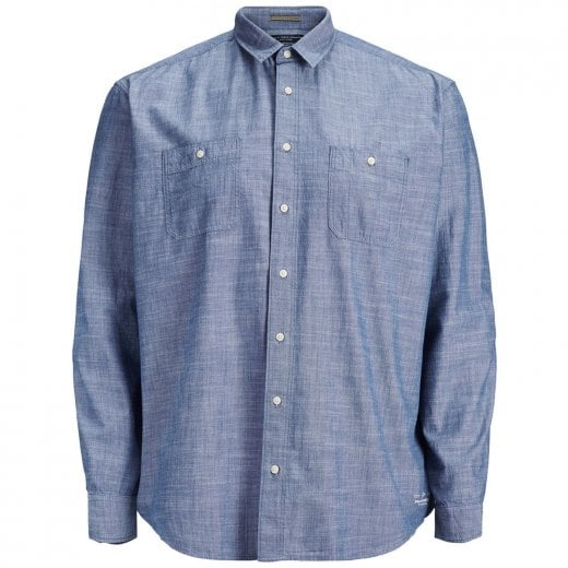 Jack & Jones Plus Size Premium Toby Chambray L/S Shirt Vintage Indigo