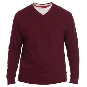 D555 Kingsize Bliss V-Neck Sweatshirt Burgundy