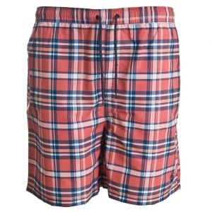Espionage Kingsize SW058 Check Swimshorts Coral