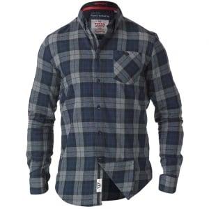 D555 Kingsize Watson L/S Check Shirt Grey/Blue