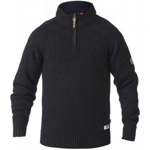 D555 Kingsize Tilden Zip Neck Knitwear Black