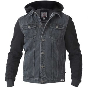 D555 Kingsize Walcott Hooded Denim Jacket Black