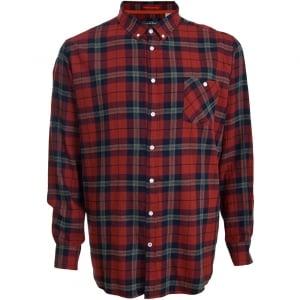 D555 Kingsize Richard L/S Shirt Red/Navy