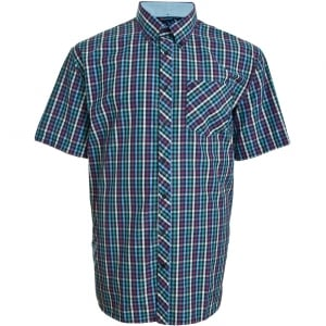 Espionage Kingsize SH236 Check S/S Shirt Navy/Blue/Purple