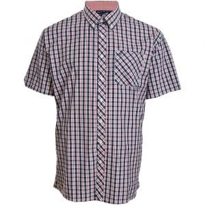 Espionage Kingsize SH236 Check S/S Shirt Navy/Red/White