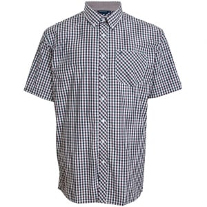 Espionage Kingsize SH236 Check S/S Shirt Navy/Burg/White