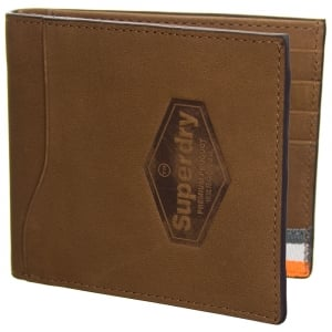 Superdry Windsor Leather Wallet In A Box Worn Tan Buff