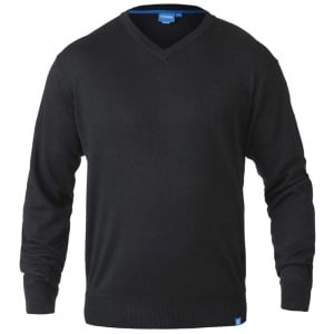 D555 Kingsize Russel V-Neck Knitwear Black