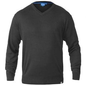 D555 Kingsize Russel V-Neck Knitwear Chrarcoal