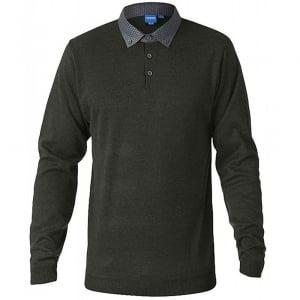 D555 Kingsize Bennet Woven Collar Knitwear Khaki