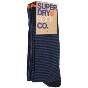 Superdry City Sock Triple Pack Navy/Denim Blue