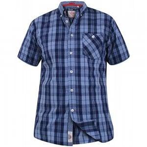 D555 Kingsize Check S/S Shirt Blue/Navy