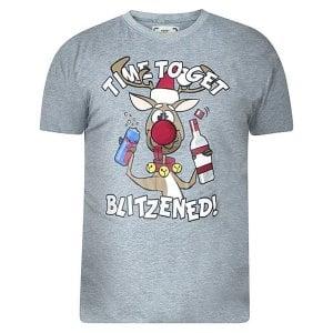 D555 Kingsize KS16187 Blitzened Christmas T-Shirt Grey Melange