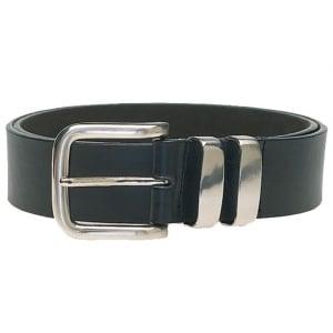 Duke London Big Mens Double Metal Loop Belt Black
