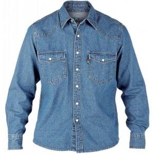 D555 Kingsize Western L/S Denim Shirt Stonewash