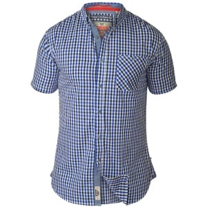 D555 Kingsize Jaiden Check S/S Shirt Blue Gingham