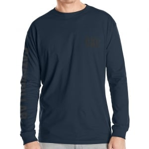 Caterpillar Kingsize Trademark Banner L/S T-Shirt Dark Marine