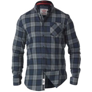 D555 Kingsize Watson L/S Check Shirt Grey/Blue