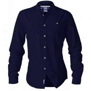 D555 Kingsize Bernard L/S Grandad Oxford Shirt Navy