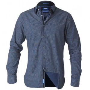 D555 Kingsize Scott L/S Printed Shirt Blue