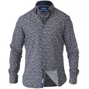 D555 Kingsize Radcliff L/S Printed Shirt Navy