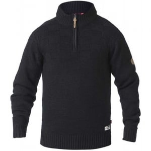 D555 Kingsize Tilden Zip Neck Knitwear Black