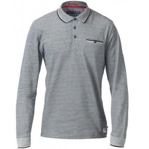 D555 Kingsize Howard L/S Polo Charcoal Melange