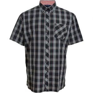 Espionage Kingsize SH236 Check S/S Shirt Navy/Red/Stone